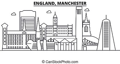England, Manchester architecture line skyline illustration. Linear vector cityscape with famous landmarks, city sights, design icons. Landscape wtih editable strokes