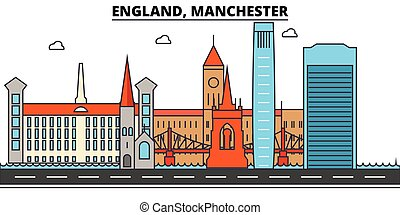 England, Manchester. City skyline architecture, buildings, streets, silhouette, landscape, panorama, landmarks. Editable strokes. Flat design line vector illustration concept. Isolated icons set