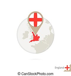 England map and flag in circle. Map of England, England flag...
