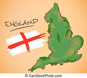 England Map and National Flag Vector