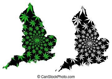 England - map is designed cannabis leaf