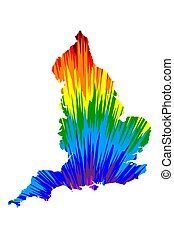England - map is designed rainbow abstract colorful pattern