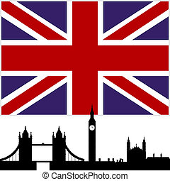 England - National Flag and the outline of buildings and ...