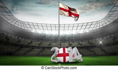 England national flag waving in foo