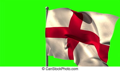 England national flag waving on fla