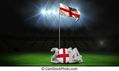 England national flag waving on foo