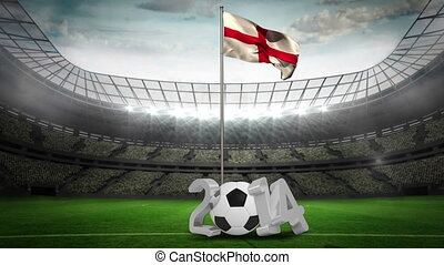 England national flag waving on pole with 2014 message on football pitch