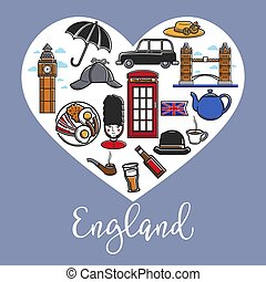England promotional poster with national symbols inside heart
