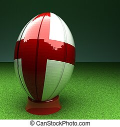 England rugby - Rugby ball with England flag over green...