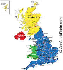 England, Scotland, Wales map - Highly detailed vector map of...