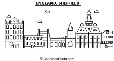 England, Sheffield architecture line skyline illustration. Linear vector cityscape with famous landmarks, city sights, design icons. Landscape wtih editable strokes