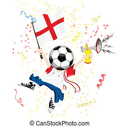 England Soccer Fan with Ball Head. Editable Vector...