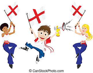 England Sport Fan with Flag and Horn