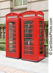England - Birmingham red telephone boxes. West Midlands,...