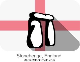 England Stonehenge, landmark flat icon design