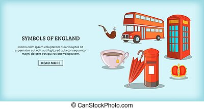 England symbols banner horizontal, cartoon style