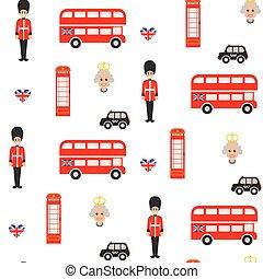 England symbols vector seamless pattern.