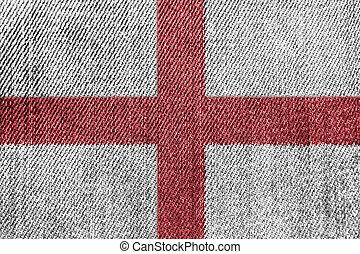 England Textile Industry Or Politics Concept: English Flag Denim Jeans