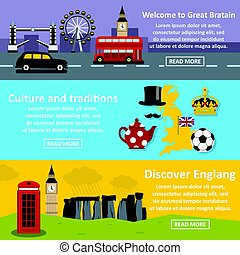 England travel banner horizonatal set, flat style