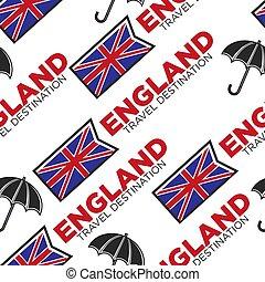 England travel destination seamless pattern national flag and umbrella