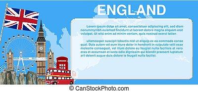 England travel landmark template card banner vector