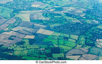 England UK Europe farmland rural villages aerial