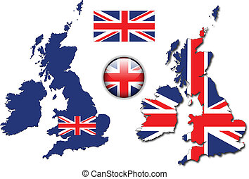 England UK flag, map, button vector - United Kingdom, ...