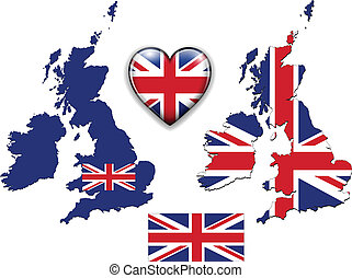 England UK flag, map.