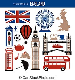 England UK sightseeing landmarks and famous vector travel...