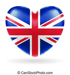 England united kingdom flag heart shape vector