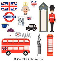 England vector traditional symbols. Tourist souvenir guide...