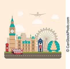 england., voyage, fond, conception, affiche, urbain