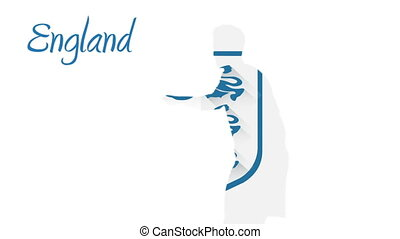 England world cup 2014 animation with player in blue and...