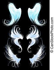engle, vinger, på, en, sort baggrund