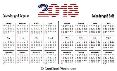 englisches , kalender, normal, sf, 2018