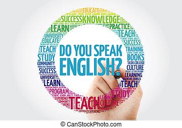english?, マーカー, 話す, あなた, 単語, 雲