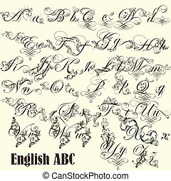 English ABC letters in vintage styl - Decorative English...