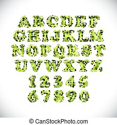 English alphabet and numerals from green balloons on a white background. holidays and education