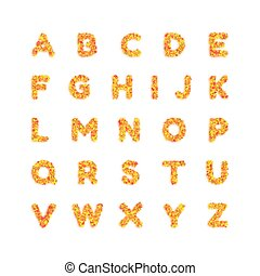 English alphabet. Bright font, letters. Vector illustration