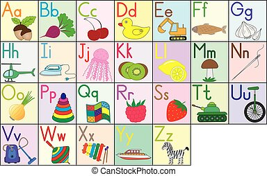 English alphabet, cards, set. Education for kids. Vector illustration.
