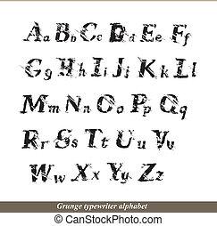 English alphabet-grunge typewriter