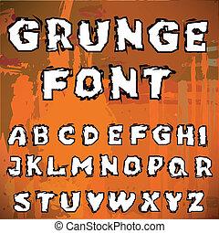English alphabet in grunge style