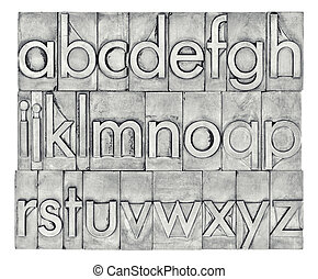 English alphabet in letterpress metal type