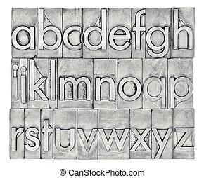 English alphabet in letterpress metal type