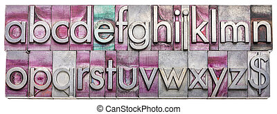 English alphabet in metal type blocks