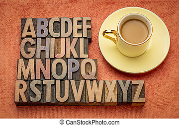 English alphabet in wood type