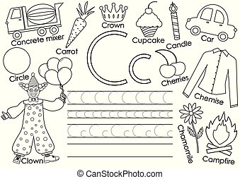 English alphabet. Letter C. Card with pictures and writing practice for preschool children. Coloring book. Vector illustration.