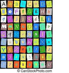 English alphabet over black - Color English alphabet