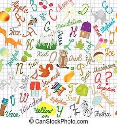 English alphabet seamless compositi