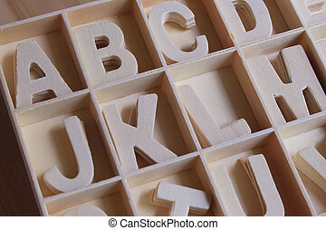 English alphabet set in wooden box